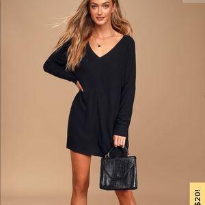 Black Long Sleeve Soft Sweater Dress